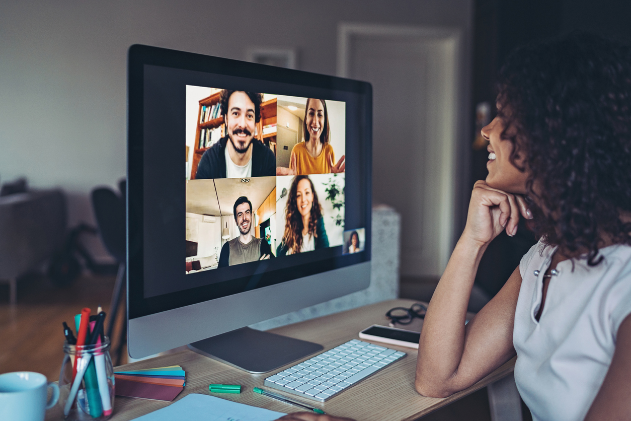 Image showing an online meeting between 5 people