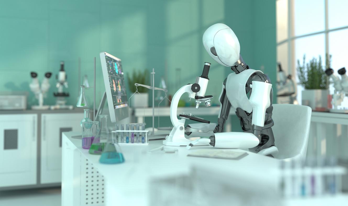 Robot looking through a microscope