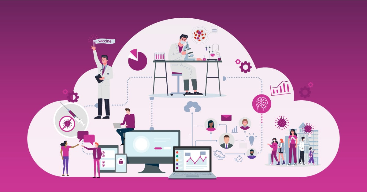 Illustration showing how covid has accelerated digital transformation in pharma